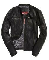 New Superdry Real Hero Biker Leather Jacket Size: L RRP £199.99 Zip Playing Up