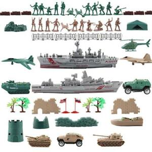 1 Set Toy Soldiers Playset Military Army Figures Warship Tanks Battlefield War
