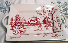 Maxcera Christmas Holiday Toile - Beautiful Red & White Platter