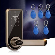 Smart Electronic Code Door Lock Digital Keyless Entry Handle Remote RFID Card x5