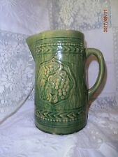 Antique Vintage McCoy Green Stonewear Pitcher Grape Relief 2 Quart Heavy