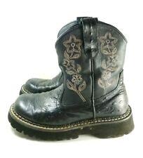 Roper Boots Women's Sz 5 Black Ostrich Leather Floral Stitching (tu36ep)