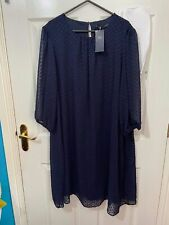 M&S Collection Navy Blue Layered Dress Sheath Size 18 New with Tag