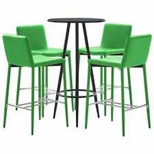 vidaXL Set de Mesa Alta y Taburetes 5 Pzs Cuero PE Verde Mesita Silla Cocina