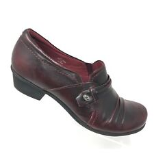 Earth Shoes Maize Bordeaux Burgundy Leather Slip On Loafer Bootie Womens SIZE 9B