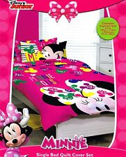 Minnie Mouse - Disney - Bow - Single/Twin Bed Quilt Doona Duvet Cover Set