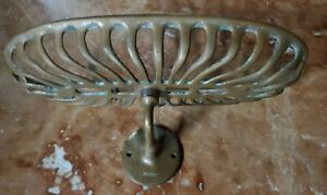 Antique J L MOTT IRON WORKS-Brass Brush and Comb Dish- Soap Sponge Wall Mounted