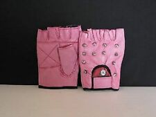 PINK LEATHER STUDDED FINGERLESS GLOVES - SIZE EXTRA LARGE