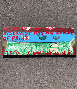 JOE LIGHT - Pride painting on Found Object wood - Folk Art / Outsider Art