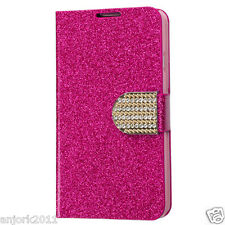 LG OPTIMUS L70 EXCEED 2 REALM WALLET FOLIO CASE W/CARD SLOT GLITTERING HOT PINK