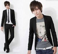Men's Fashion Stylish Casual Slim Fit One Button Suit Blazer Coat Jacket Tops cc