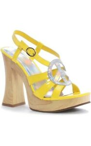 ADULT WOMENS HIPPY HIPPIE 1960s FUNKY YELLOW PLATFORM COSTUME SHOES ACCESSORY