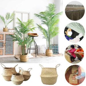 Natural Wicker Flower Basket Storage Laundry Organizer Garden Planter Rattan Pot