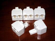 Lot (5) Steren 300-024 Phone line Splitter RJ11 Modular 4C T Adapter, Ivory