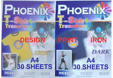 IRON ON T Shirt LIGHT & DARK Transfer Paper A4 30+30