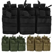 Tactical MOLLE Triple .223/5.56mm Open Top Mag Magazine Pouch Military Hunting