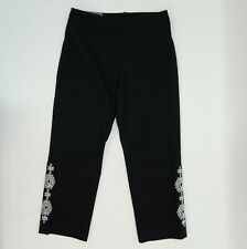 JM Collection Womens Pants Pull On Embroidered Cropped Capri Pants Black $49