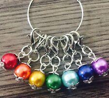 KNITTING/CROCHET Stitch Markers, Rainbow Chakra Metal Spacer Beads