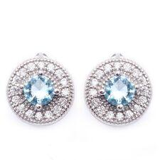 Ocean Blue White Round Cubic Zircon White Gold Plated Ear Stud Hoop Earrings