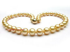 "AAAAA 18""9-10MM natural real round south sea golden pearl necklace 14K gold"