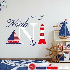 Nautical Personalised Wall Sticker Kids Bedroom Boat Custom Nursery Vinyl Decal