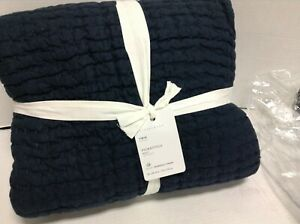 Pottery Barn Pick-Stitch Handcrafted Cotton Linen Bed Quilt Midnight TWIN 68x86