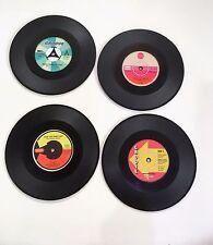 Set of 4 Insulated Non-slip Silicone Cup Coasters Record Vinyl Retro Vintage Bar