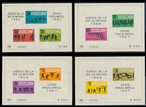 JUEGOS DE LA XIX OLIMPIADA 1968 SET OF 4 SOUV. SHEETS, MINT OG MATCHING SERIAL #