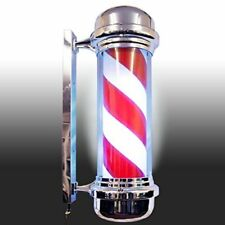 LED Barbers Pole Illuminating Rotating Salon Sign Light Red White 71cm Large Ver