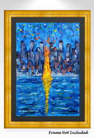 Mid-Century Modern Original Painting Cityscape Abstract Impasto MCM Atomic Eames