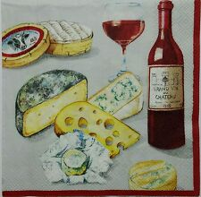 WINE & CHEESE 2 single LUNCH SIZE  paper napkins for decoupage 3-ply