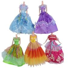 5Pcs Handmade Lovely Wedding Party Gown Doll Dresses Costume For Barbie doll