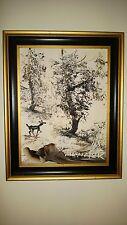 "Original Oil MORRIS KATZ Painting ""WINTER SCENE WITH A DEER ""1980 Impress.Signed"