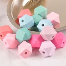 30PCs Wooden Cube Geometric Beads Jewelry Making Unfinished Bead DIY Crafts