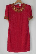 Vtg Night Vogue Sequin Dress Red Silk Shift Style Short Sleeve Size M