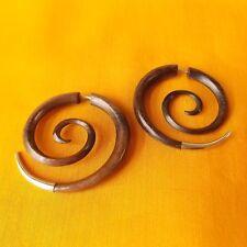 Spiral Silver Tip Fake Gauge Earrings Split Taper Carved Wood Illusion Expander