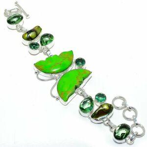 "Butterfly - Copper Green Turquoise Silver Fashion Jewelry Bracelet 7-8"" SB4568"