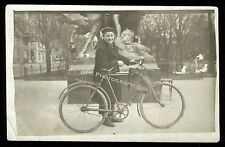Antique Real Photo Postcard RPPC Man With Vintage European Bicycle France ?