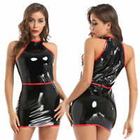 Fashion Women's Halter Party Bodycon Patent Leather Mini Dress Wet Look Clubwear