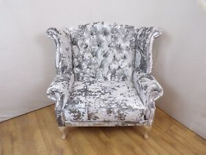 Argent Grey Crushed Velvet Queen Anne Wing Chair - love seat