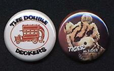 DOUBLE DECKERS and TIGER pair of Badge Button Pins !