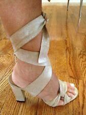 RUFFO High Heel Metallic Leather Strappy Sandal Sz 39 1/2 Medium
