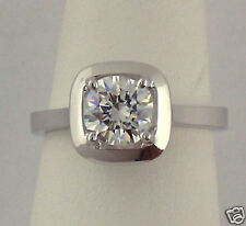 1CT CUSHION CUT CZ SOLITAIRE RING 14K WHITE GOLD NEW