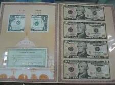 USA $10 Uncut Banknote 4-in-1 in folder with certificate (UNC)  十美元 4连体整版钞
