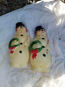"""2 Vintage 1968 Empire Plastic Blow Mold Snowman 13"""" Christmas !!!"""