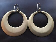 "Statement Geometric solid metal brass bronze color hoop hook Earrings 1.75""Dia"