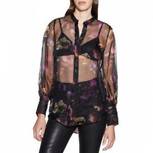 Equipment Femme Boleyn 100% silk shirt blouse Black purple yellow sheer S NEW