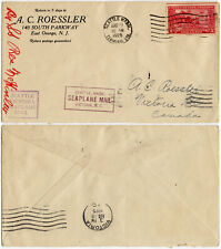 AIRMAIL 1925 SEATTLE SEAPLANE MAIL to VICTORIA CANADA NEW JERSEY PRINTED ENV 2c