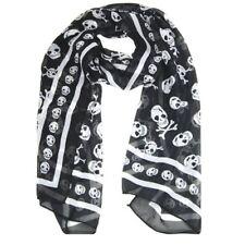 Bufanda panolon panuelo largo de moda de impresion del craneo sensacion de seda