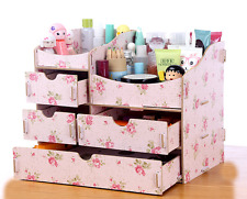 Home Wooden Makeup Organizer Desktop Storage Box Rack Cosmetic With 3 Drawers